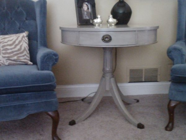 Beautiful Detailed Pedestal Table, Original Hardware. Gray/Taupe In Color.  Use As. Small Dining ...