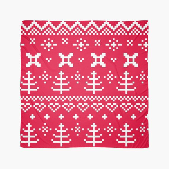 Designers FOLK Scarf : RED and WHITE 60s by RosemaryWellnessShop
