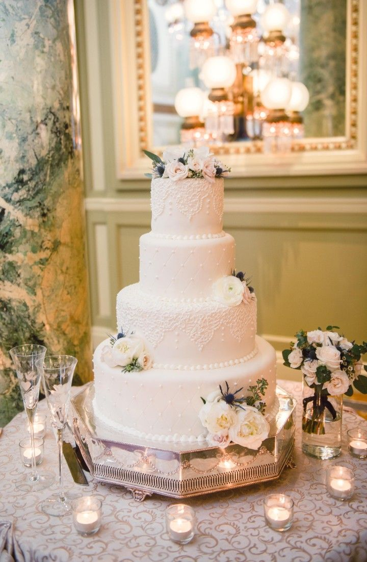 Elegant Washington DC Wedding at The Willard - floral design: Loda Floral Design; wedding cake idea