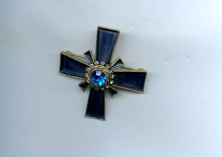 Vintage HAR Maltese Cross Enamel and Rhinestone Brooch Pin