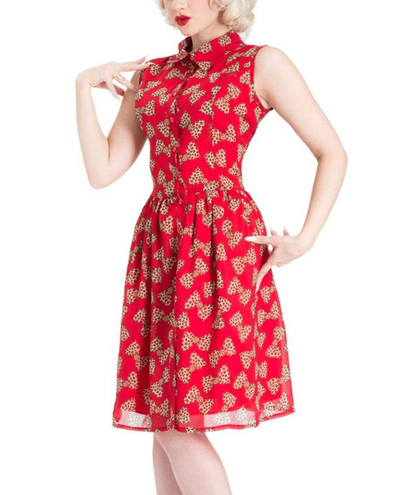 Look at this Voodoo Vixen Red Leopard-Bow Fit & Flare Dress on #zulily today!