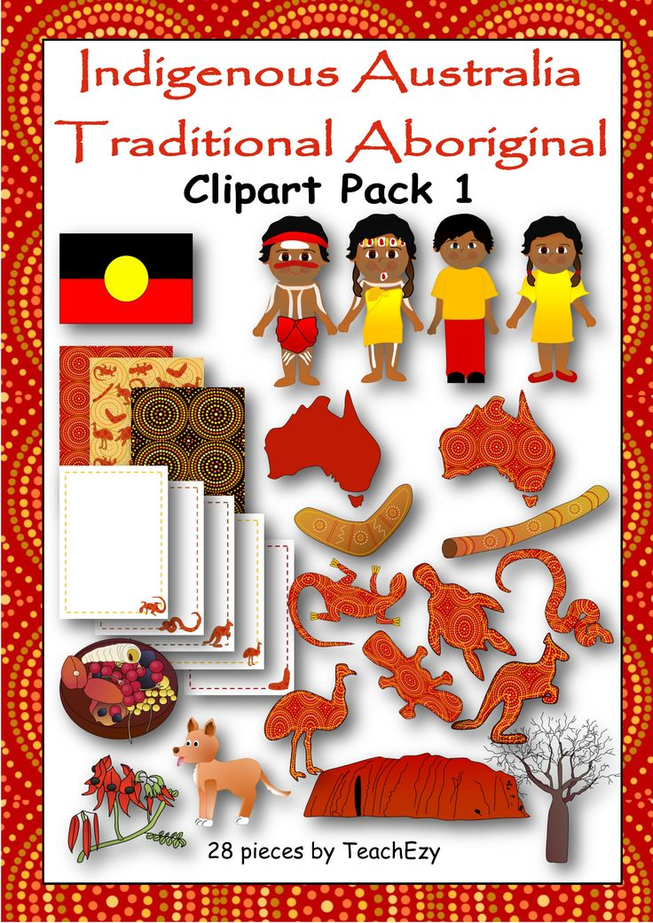28 pieces of Indigenous (Aboriginal) themed clipart – 300dpi  Please see terms of use before purchasing.  Please note this is a zipped folder and will need to be unzipped to use.