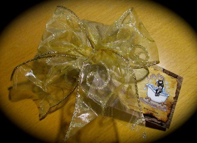 A gift wrapped Li'l Sis Goat Milk Soap