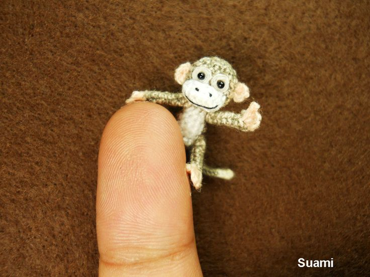 I love Miniatures -  Lovely Tiny Monkey - 1 inch Scale Micro Crochet Gray Thread Monkeys