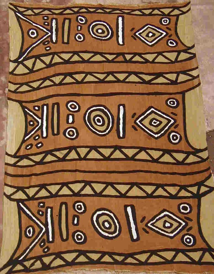 strips are sewn into large panels  - fabric panels are dyed by soaking in decoctions of leaves and bark  - patterns of clay-rich mud are applied with sticks and brushes; one mud-application and one dye-bath are required for each successive shade of color.