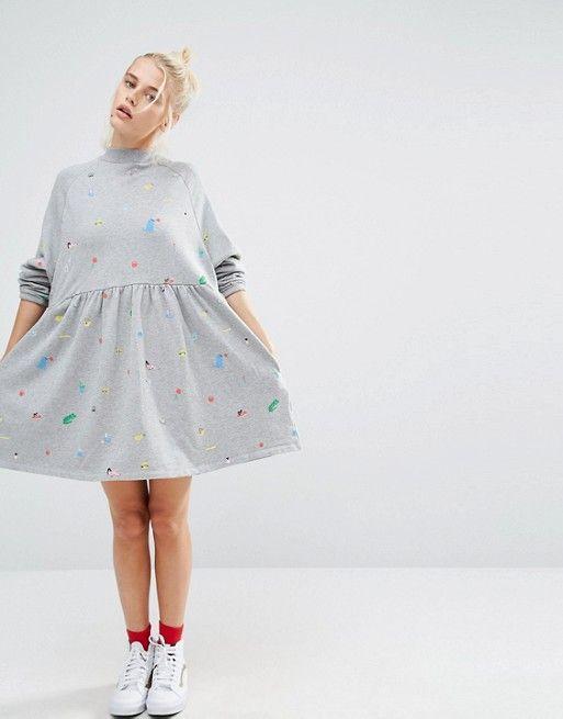 Lazy Oaf   Lazy Oaf Oversized Sweat Dress With Random Print
