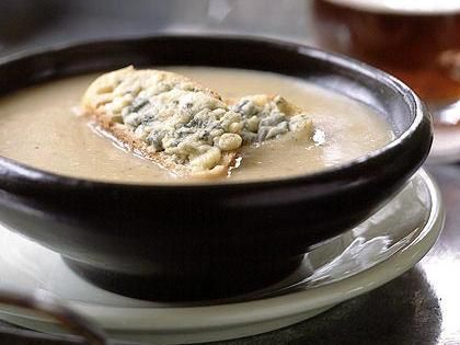 Roasted Garlic and Shallot Potato Soup with Cheesy Croutons - The strong cheeses provide a good opportunity to enjoy a full-flavored ale that doesn't dominate the food. Try Fuller's ESB from London, or Dock Street Ale from Philadelphia. The caramel flavors of Guinness stout would also work well, bringing out the sweetness of the onions.http://www.myrecipes.com/recipe/roasted-garlic-shallot-potato-soup-with-cheesy-croutons