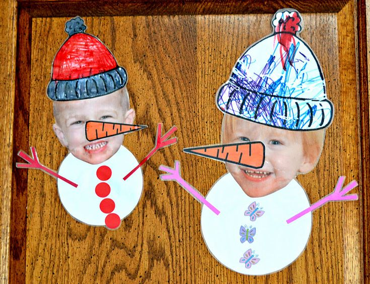 """Personalized Snowchildren as easy as a printing a photo, cutting out the face, having children color hats and carrots you have drawn, and gluing on buttons and hands. Add a sign that says """"Let it Snow"""" and you ahve a fun poster to put up with coat rack or on front door. Link doesn't give any printables, just a photo to inspire."""