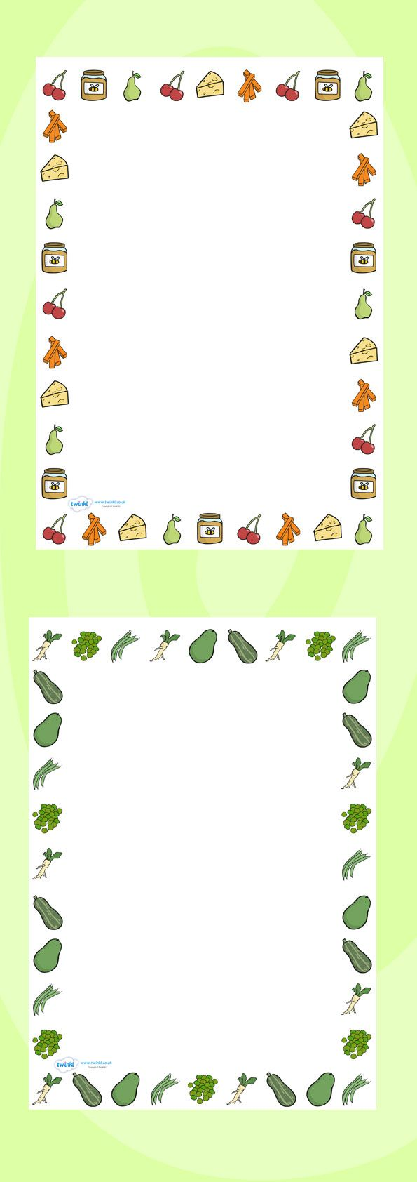 Twinkl Resources Food Themed A4 Page Borders Thousands of printable primary teaching resources for EYFS, KS1, KS2 and beyond! food, page border, writing borders, A4, borders, good eating, healthy snack, snack, independent writing,