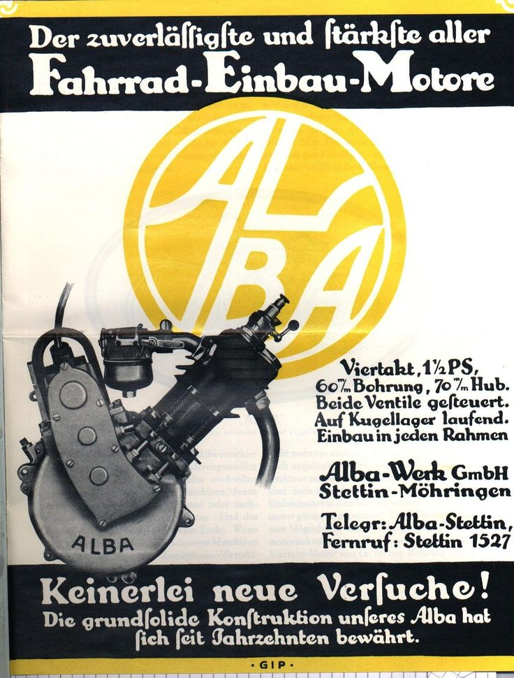 %% ALBA 1923 STETTIN FAHRRAD EINBAUMOTOREN PROSPEKT   eBay