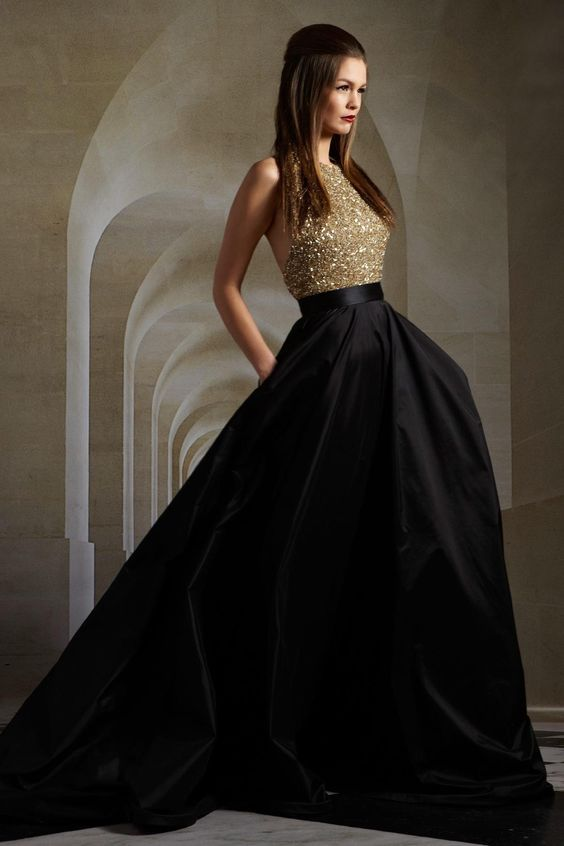 Black and Gold Crop Top Dress, Sexy Prom Dresses 2016, Stunning Black Halter A-line Dress, Crystal Embellished Bodice Prom Gowns, Plunging Back Evening Dress