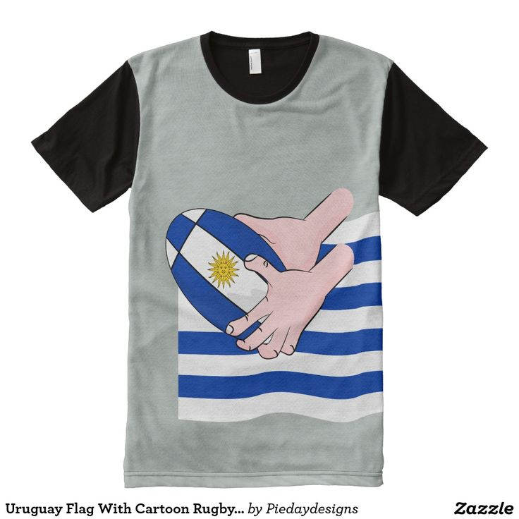 Uruguay Flag With Cartoon Rugby Ball All-Over Print T-shirt