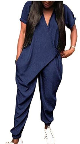 0004831e157a ONTBYB Women s Plus Size Short Sleeve Baggy Harem Jumpsuits Rompers ...