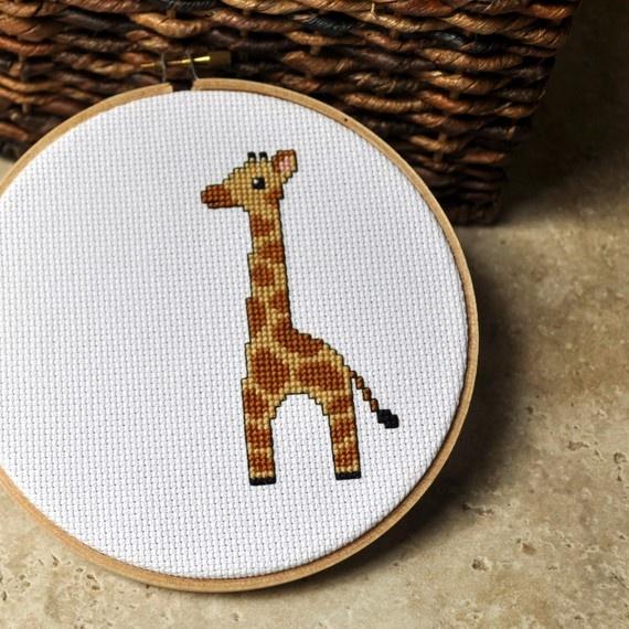 cute giraffe cross stitch~ i got a hedgehog and cardinal one for christmas