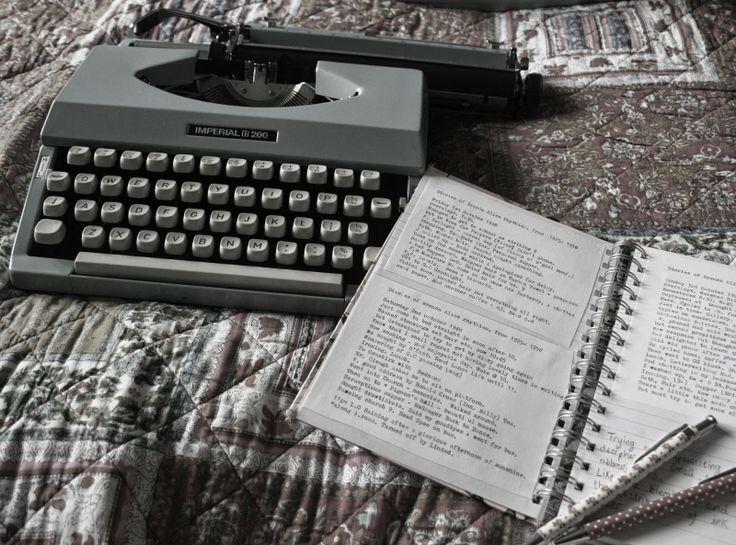 Vintage pastel blue typewriter
