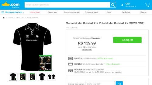 [Submarino] Game Mortal Kombat X + Polo Mortal Kombat X - XBOX ONE - de R$ 269,91 por R$ 125,99 (49% de desconto)