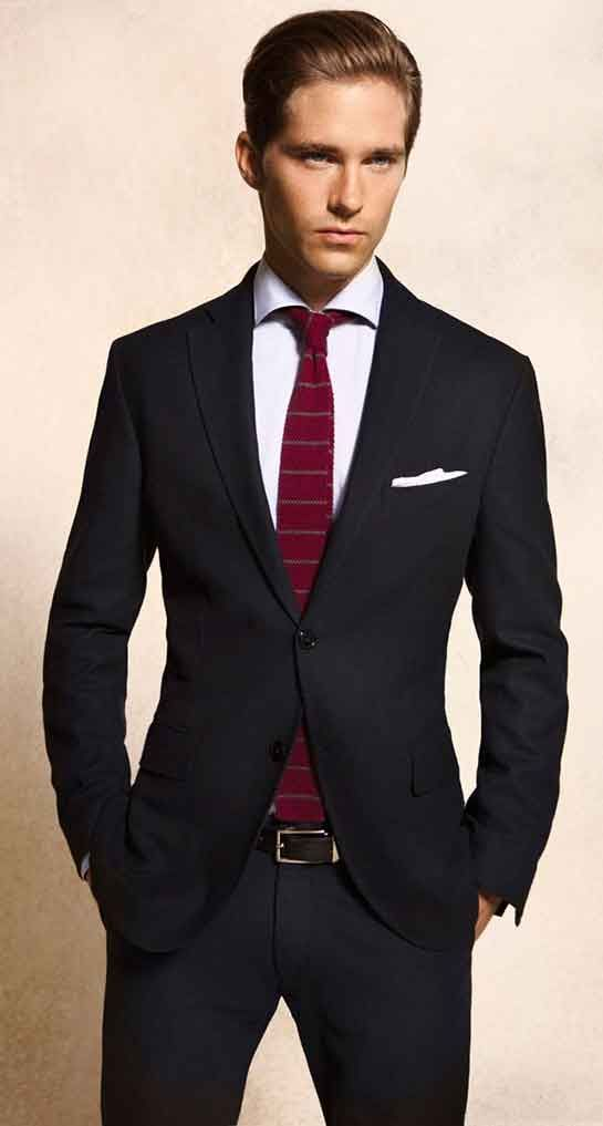red tie with black suit