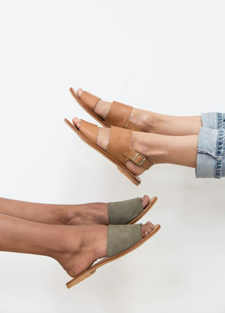JUN Sandal in Tan Leather & AIKO Basic Slide in Olive Suede  St. Agni slides are the epitome of comfort and style. With their slip-on design and light rubber sole, these slides are perfect for everyday wear and use.