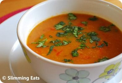 Spicy Sweet Potato, Red Pepper and Carrot Soup  #lowfat #healthyeating