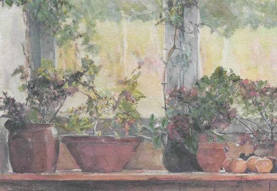 Flowers in window watercolor by Abakua on Etsy