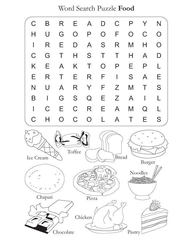 Food vocabulary words word search puzzle worksheet.