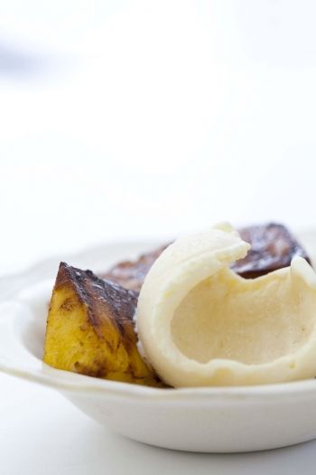 Honey Ice Cream with Grilled Pineapple