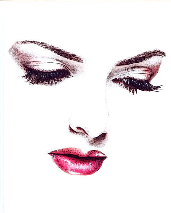 womans face eyes looking down red lipstick by ElizavellaArt