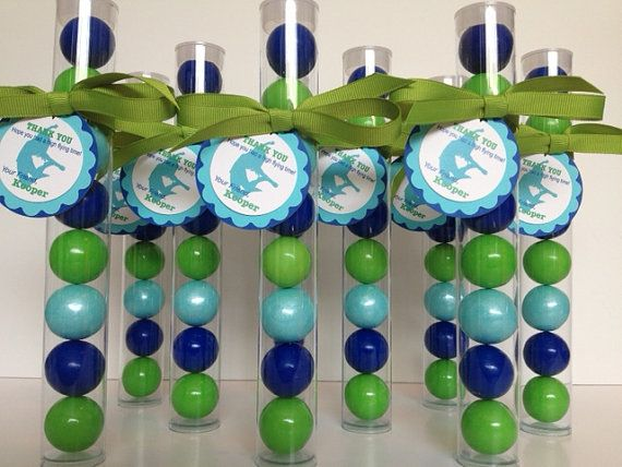 JUMPING, Bounce, Trampoline Party Gumball Tube Party Favors, Set of 12, with Personalized Tags and ribbon