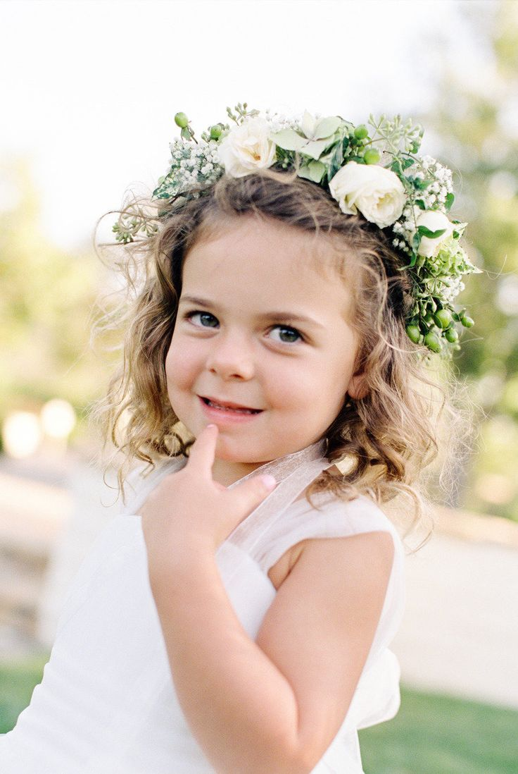 Floral crown for the flower girl   Photography: Picotte Weddings - picotteweddings.com Event Planning: Brooke Keegan Weddings and Events - brookekeegan.com Floral Design: Elegant by Design - elegant-by-design.com/  View entire slideshow: 20 Fresh Flower Hairstyles for Spring + Summer on http://www.stylemepretty.com/collection/271/