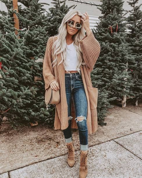 Style a comfy tee with a cozy, chunky cardigan!