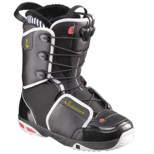Salomon Snowboards Women's Kiana Snowboard Boots - Black/ White/ Black 25 by Salomon. $124.48. Park rats like Salomon team rider Desiree Melancon need plenty of flex from their boots, which is why she wears the WomenAAAs Kiana Snowboard Boot. The bootAAAs Reflex cuff is constructed to flex independently of the boot to give herAAAand youAAAsmooth, natural movement whether sheAAAs throwing down a new trick or hiking back to the top of the pipe. The KianaAAAs new Zero G...