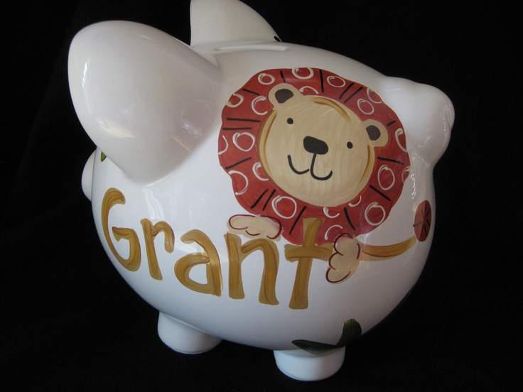 piggy bank hand painted personalized cocoa by andrewandelladesigns, $29.50