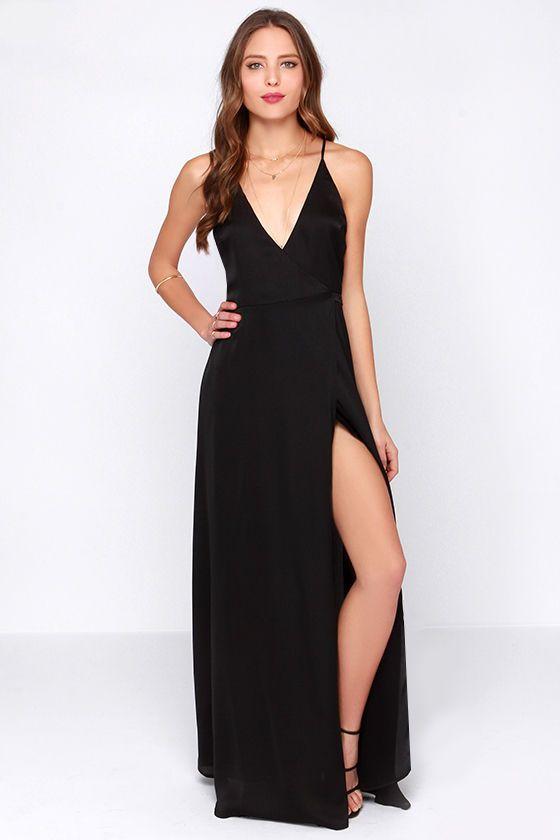 $50 // LULUS Exclusive Long Answer Black Wrap Maxi Dress at Lulus.com!