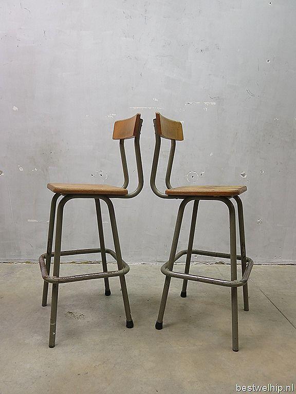 Vintage kruk stoel industrieel, French Industrial stools bar stool