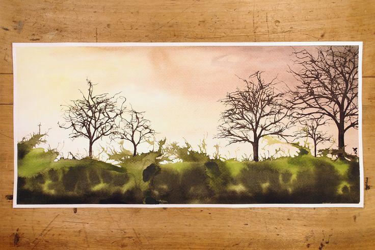 Treefull landscape by InkingArt.deviantart.com on @DeviantArt