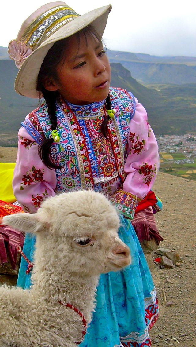 peruvian girl and llama