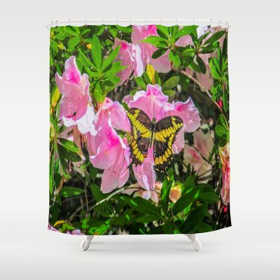 Pink Flowers and the Butterfly shower curtain.