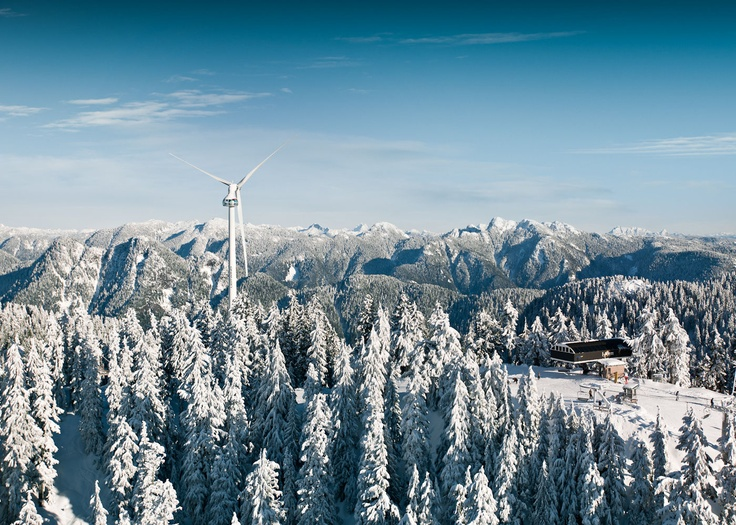 Snow dusted trees and the Eye of the Wind at Grouse Mountain, Vancouver.