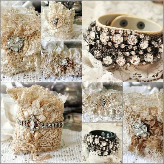 Easy to DIY - old lace remnants, broken jewellery, some pale leather...hot glue gun, sewing machine and a nice closure of an antique button and handstitched eye....