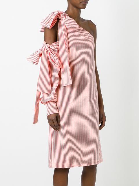 MSGM платье в полоску на одно плечо