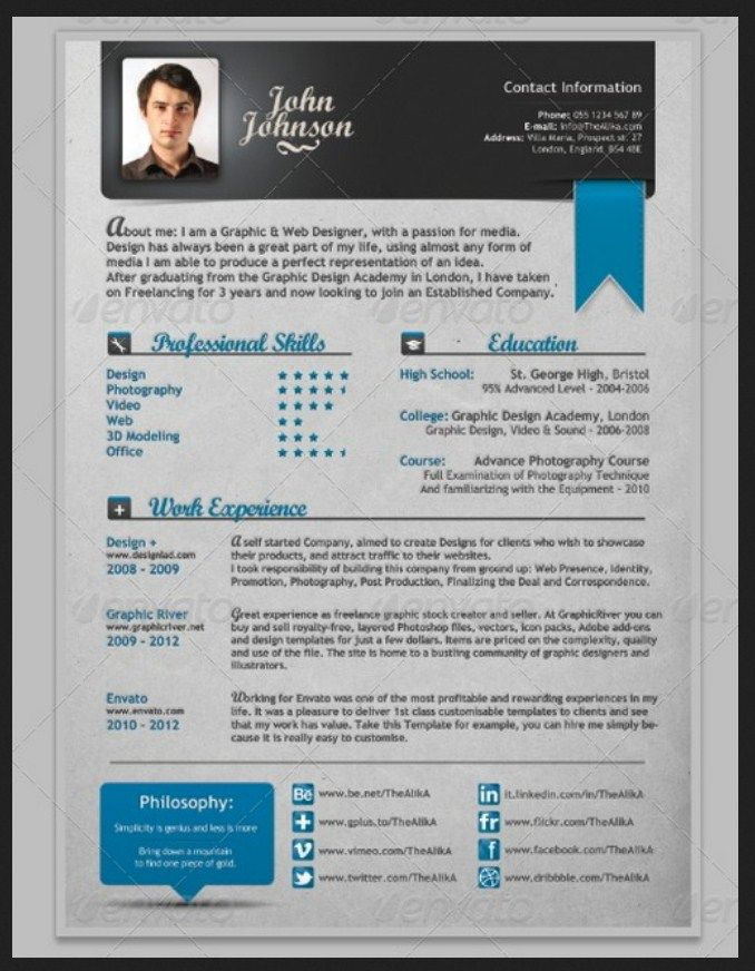 Free Creative Resume Templates 56 Best Resumes Images On Pinterest  Curriculum Resume Ideas And