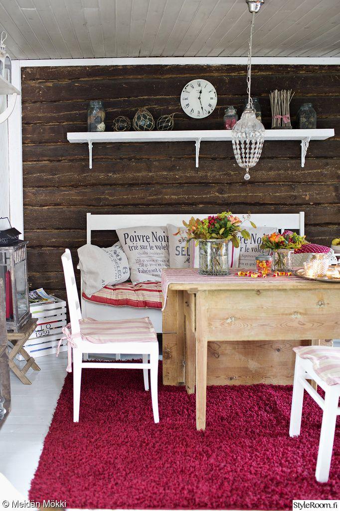 tupa,hirsiseinä,kirpputorilöytö,olohuone,mökki