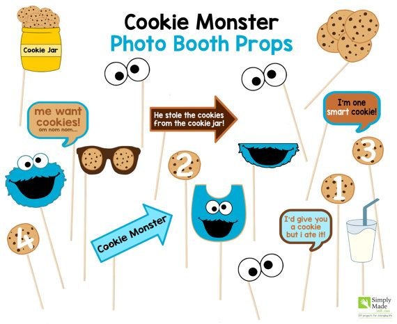 Cookie Monster Photo Booth Props for your Cookie Monster Party. Your guests will have a blast taking pictures with these cute Cookie Monster Props.