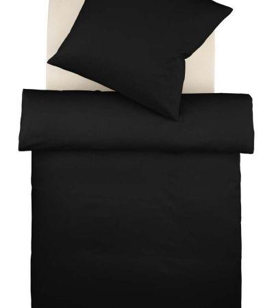 Geht immer: einfarbige Bettwäsche in schwarz uni. Hochwertiger Mako-Satin, blitzschneller Versand. Von N&K Bielefelder Wäsche.
