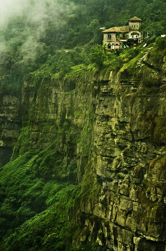 The Cliff Salto de Tequendama, Cundinamarca, Colombia. This is another view for the hotel and how it was built in the edge of a cliff. Awesome view!