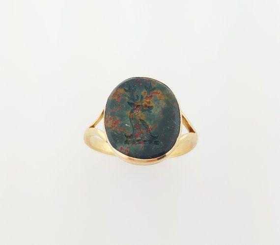 Vulpeca jewelry, Antieke Victoriaans ca. 1900 14K goud, Bloodstone herten / hert / Buck diepdruk Signet Ring - Arabisch achterkant steen gehouwen