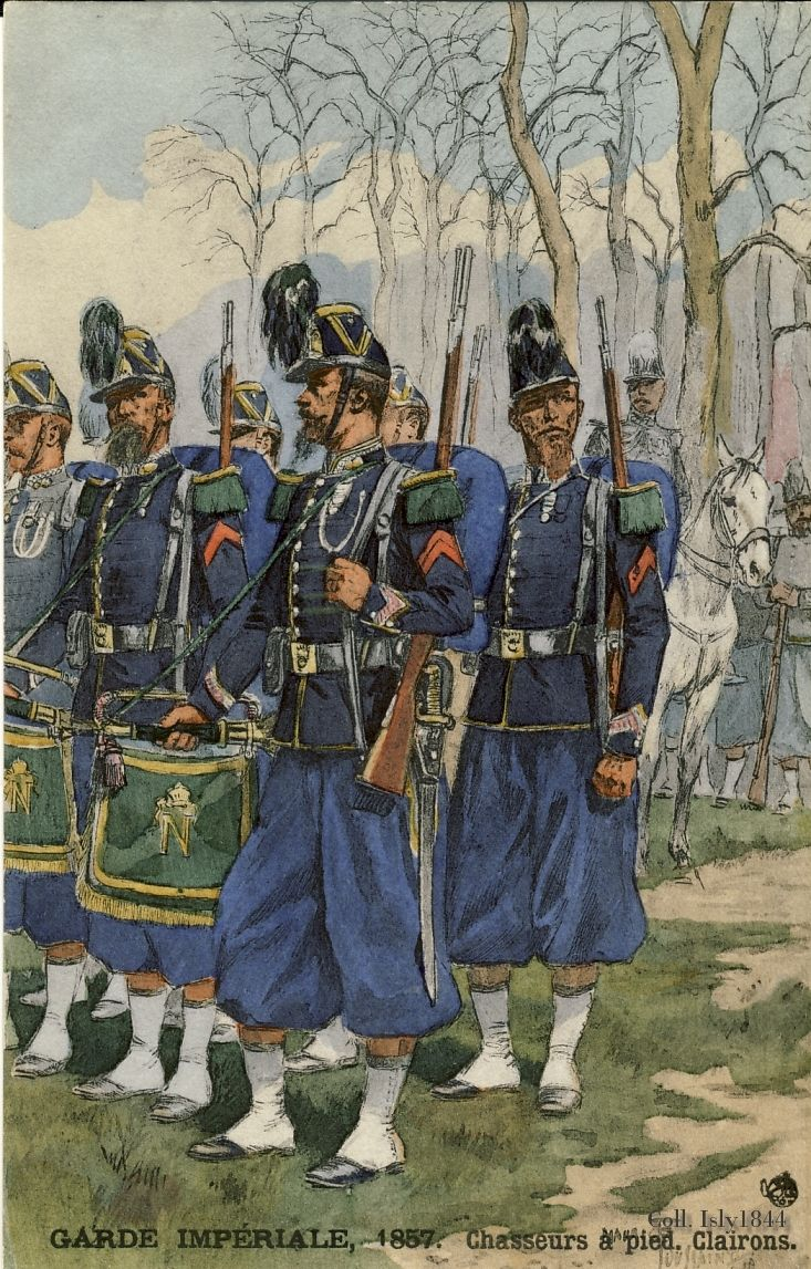 The French Minimalist Capsule Wardrobe Winter 2018 2019: French; Imperial Guard,Chasseurs A Pied, Clarions, 1857