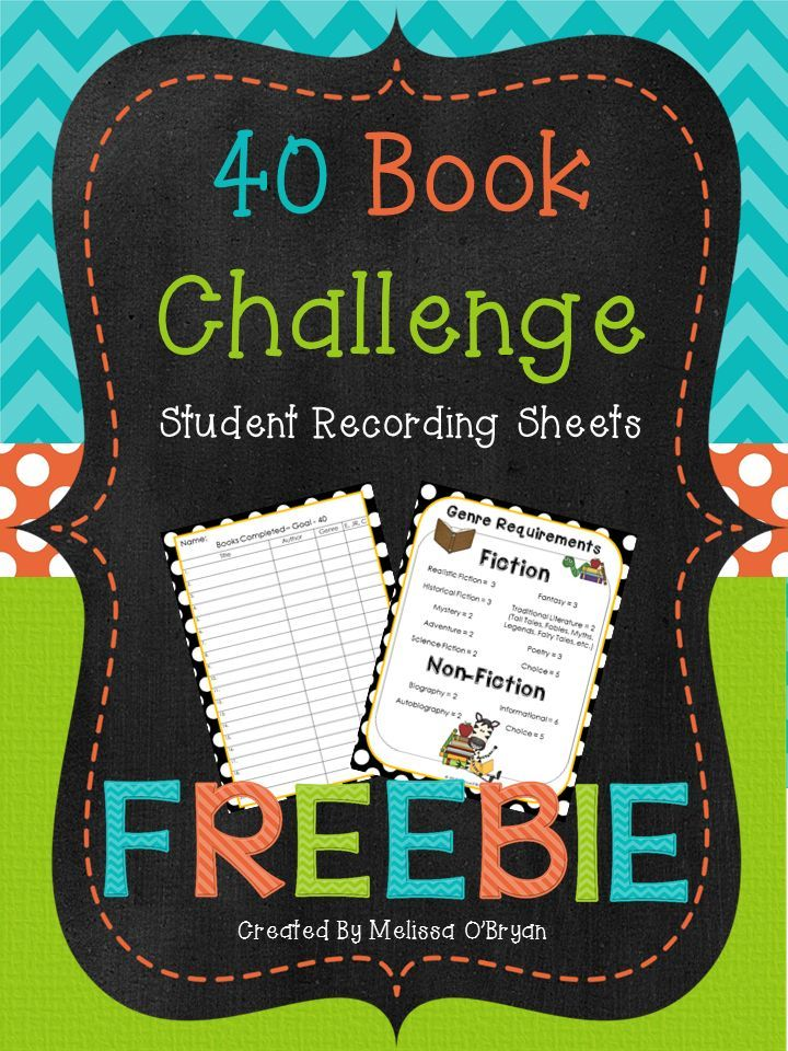 40 Book Challenge FREEBIE recording sheets. This freebie includes a recording sheet for students to keep track of their books read towards your classroom challenge and a genre requirement sheet to help them choose books outside their comfort zone.  Both sheets are a sample from my Data Tracking Reading Workshop Organizer! #wildaboutfifthgrade