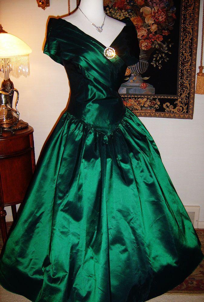 Vtg Loralie Original Emerald Green Southern Belle Acetate