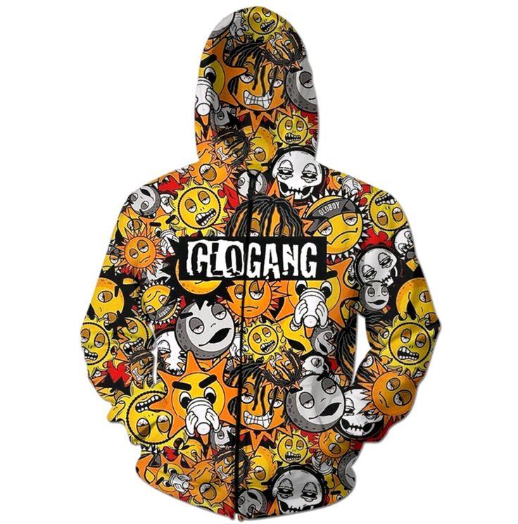 2016 Newest Fashion Men Women Hooded Sweatshirts Digital printing cute cartoon glo gang 3D Hoodies Zipper Outerwear